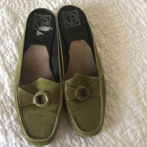 Cole Haan green suede mules..like new!
